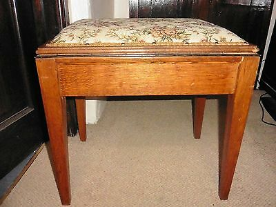 Vintage wooden padded piano stool with tapestry seat and storage