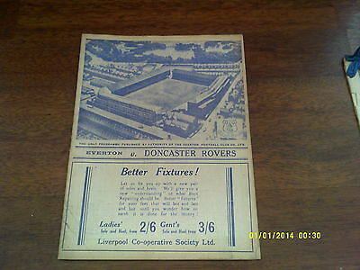 Pre War - Everton (Champs) v Doncaster Rovers 1938/39 Fa Cup 4th Rd 21-01-1939