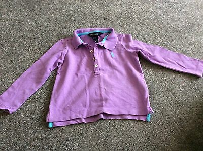 Ralph Lauren Girls Lilac Long Sleeve Polo Top-Age 2