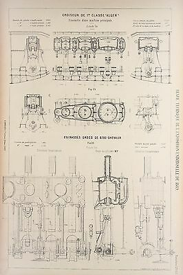 Antique 1889 Engineering Print - French - Steam Engines Machines Mechanics 131
