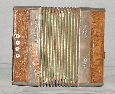 Antique German Made Squeeze Box Accordion Mother Of Pearl