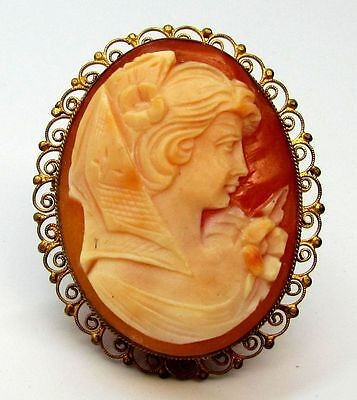 Vtg 1935 Carved 800 Silver Shell Cameo Filigree Pin Brooch/Pendant Made in Italy