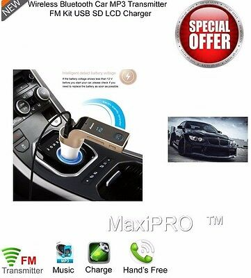 Wireless Bluetooth FM Transmitter Kit Car MP3 Music Player & USB Port ROSE GOLD