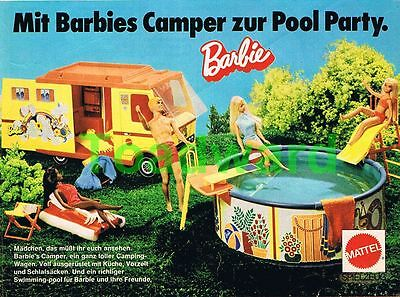 "Orig. 1978, ""Barbie Camper, Swimming-Pool"" Werbung, Reklame Mattel"