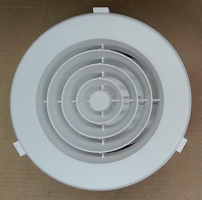 """Ducted Heater 150mm Round Plastic Ceiling Vent Outlet - 6"""" Downjet - White"""