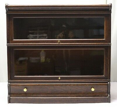 Antique Globe Wernicke Co. 4 Section Barrister Bookcase With Drawer Base Oak