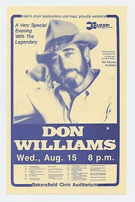 Don Williams Handbill 1984 August 15 Bakersfield Civis Auditorium