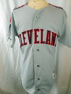 Vintage Grey Polyester USA Made Rawlings Cleveland Baseball MLB Jersey 42 Large