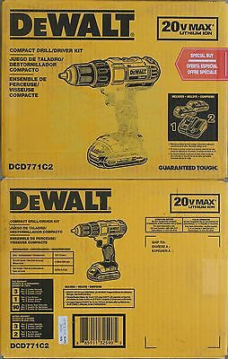 BRAND NEW Dewalt DCD771C2 20V Max Coompact Drill / Driver Combo Kit AWESOME!