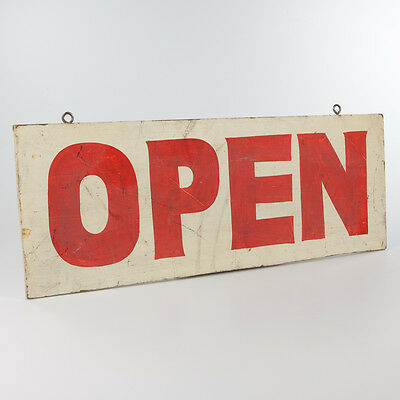 Hand Painted OPEN Wood Sign Double Sided Vintage 1970s Business Collectible