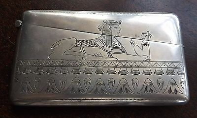 Rare Egyptian Revival German Solid Silver Card Case Sphinx Engraved circa 1925