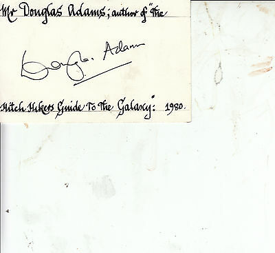 Douglas Adams Hitch Hikers Guide to the Galaxy SIGNED WHITE CARD