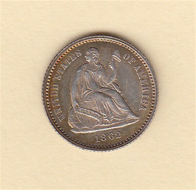 1862 Seated Liberty Half Dime - VERY NICE DETAIL USA US coin
