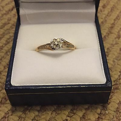 9ct gold diamond ring in box with receipt