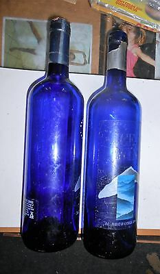 Two blue glass bottles