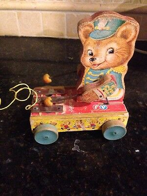 Vintage 1062 Fisher Price Tiny Teddy Pull Toy Xylophone #635