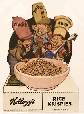 Rare Kellogg'S Rice Krispies Snap Crackle & Pop Cereal Box Cut Out