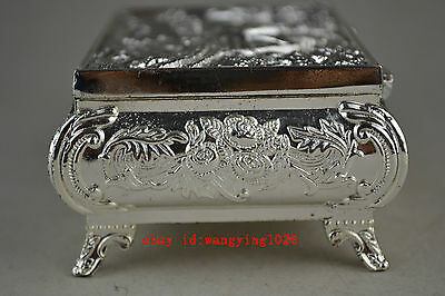 china collectible decorate handwork old miao silver relievo pattern jewel box