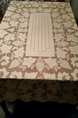 """Lovely Vintage Floral Grapes Lace Tablecloth 62"""" x 84"""" IVORY BANQUET"""