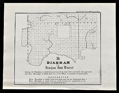 1855 Alachua Florida Land District Map Survey Swamp Lands ORIGINAL RARE
