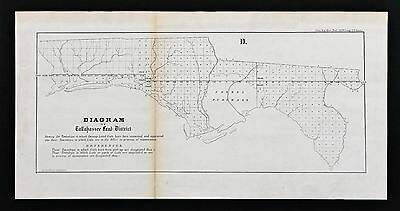 1855 Tallahassee Florida Land District Map Survey Forbes Purchase ORIGINAL RARE