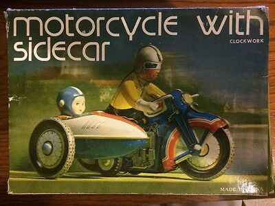 Vintage Clockwork Tin Motorcycle with Sidecar Wind Up Toy MS 709 GREAT SHAPE!