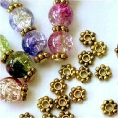 1000X Gold Plated Daisy Flower Spacer Beads Jewellery Craft Bead Findings 4/6mm