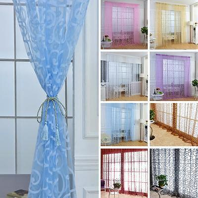 Sweet Floral Flocking Double S Shaped Tulle Curtain Sheer Scarf Window Curtain
