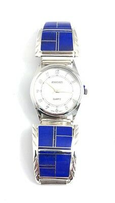 Native American Sterling Silver Hand Made Lapis Mens Watch