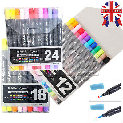 12 18 24 Colors Twin Fine Tip Brush Sketch Marker Pen Graphic Drawing Art Manga