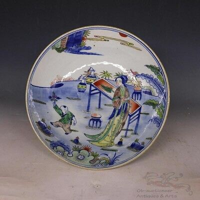 Blue and White Clash Color Beautiful Chinese Porcelain Beauty High Stand Plate