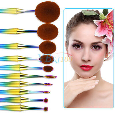 1/10x Colorato Ovale Spazzola Pennelli Make-Up Ombretto Cosmetic Brush Trucco