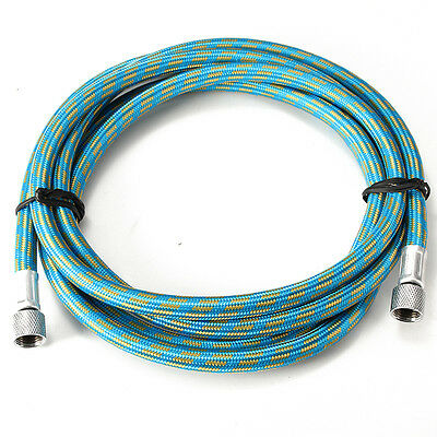"Blue 1800mm Braided Airbrush Compressor Air Hose 1/8"" to 1/8"" Adaptor Fitting"