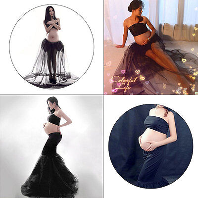 Pregnant Maternity Photography Prop Maternity Maxi Evenning Party Dress Large AU