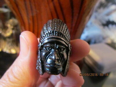 Vintage Silver 1985 G&s Chief Head Ring Size 8