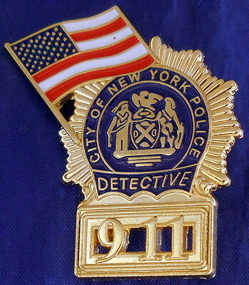 Nypd 9-11 Detective Mini Badge Pin - Free Shipping In The Usa