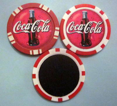 LOT of 2 Coca Cola Soda Coke Pop Poker Chip Magnets Locker Refrigerator Handmade