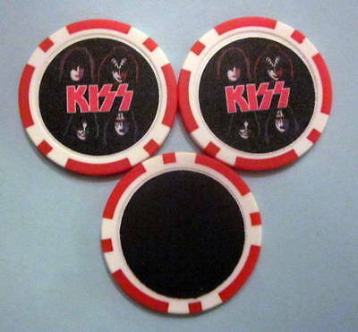 LOT of 2 KISS Rock Band Gene Simmons Ace Paul Criss Poker Chip Magnets Handmade