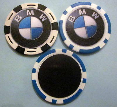 LOT of 2 BMW Car Motorcycle Dirt Bike SUV Poker Chip Magnets Handmade