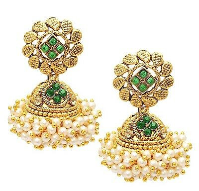 Indian Traditional Ethnic Bollywood Gold Plated Women Jhumka Jhumki Earring