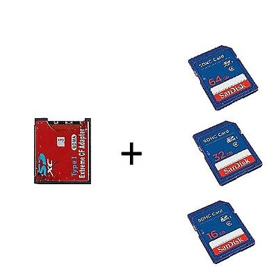 Compact Flash Lettore Schede SD WiFi SD SDHC SDXC a CF Type I + Scheda SD