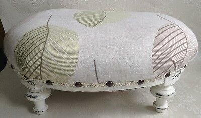 Upholstered oval Footstool Pouffe Padded Stool Solid Wood shabby chic vintage