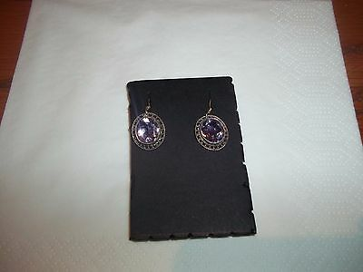 925 Silver Amethyst And Marcasite Earrings