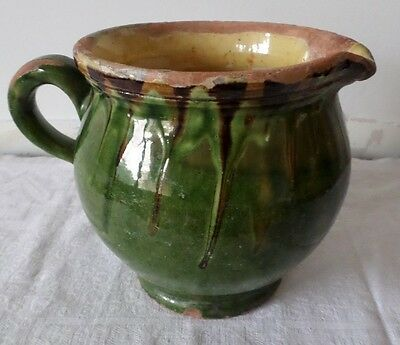 Ancien pichet jaspé en terre vernissée / French Pottery old  Pitcher