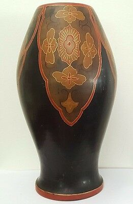 Large Antique Japanese Nippon Lacquer Pottery Vase