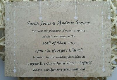 Personalised Wedding invitations x 50 with envelopes
