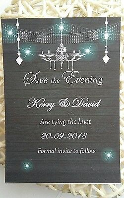 Personalised Save The Date Evening Cards  X 50  Envelopes  Magnetic Wedding