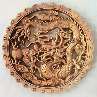 China Hand-Carved Dragon Statue Camphor Wood Plate Wall Sculpture Nr 02