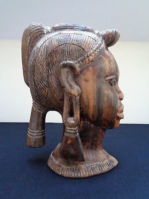 Beautiful Carved Wooden Bust Of African Tribal Women