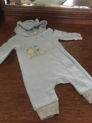 George Baby Boy First Size Newborn Up To 9lbs Blue Sleepsuit NWOT